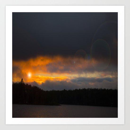 October Cloudy Sunset Art Print