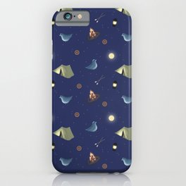 camping birds pattern iPhone Case