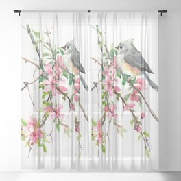 Titmouse and Cherry Blossom, birds and flowers design artwork Sheer Curtain