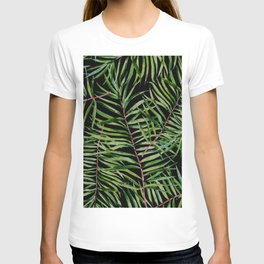 Pattern tropical plants black background T-shirt