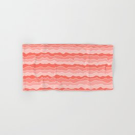 Four Shades of Living Coral with White Squiggly Lines Hand & Bath Towel