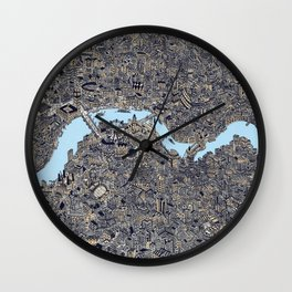 London color map city drawing illustration Thames Wall Clock