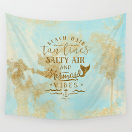 Beach - Mermaid - Mermaid Vibes - Gold glitter lettering on teal glittering background Wall Tapestry