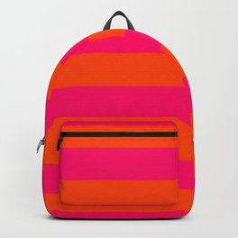 Bright Neon Pink and Orange Horizontal Cabana Tent Stripes Backpack