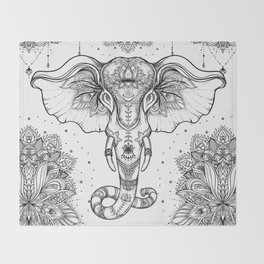 Beautiful hand-drawn tribal style elephant Throw Blanket