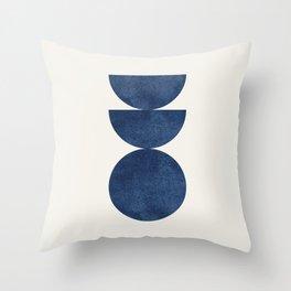Woodblock navy blue Mid century modern Throw Pillow