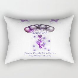 Power Purple For a Cure - The Wings Of Love - Survivor Rectangular Pillow