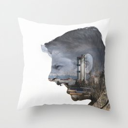 Angry shouting man face on cityscape Throw Pillow