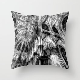 The Haunted Cathedral Throw Pillow