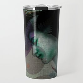"""The Girl and the Moon Burlap Texture"" Travel Mug"