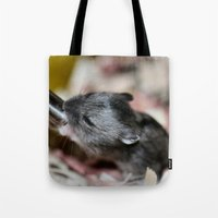 hamster Tote Bags featuring Tiny Hamster by IowaShots