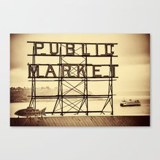 Ferry and Sign for Pike Place Market, Seattle Canvas Print