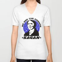 sagan V-neck T-shirts featuring Carl Sagan we are the cosmos v2 by Buby87