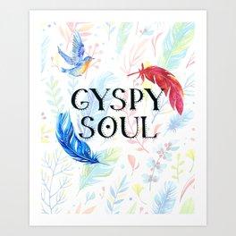 Gypsy Soul - Boho Watercolor Feathers Hippy Heart Art Print