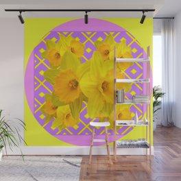 Golden Yellow Daffodils Bouquet Garden Lilac Art Wall Mural