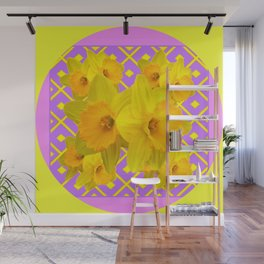 Golden Yellow Daffodils Bouquet Garden Lilac Art Wall Mural