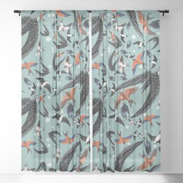 Swallows Martins and Swift pattern Turquoise Sheer Curtain