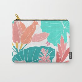 Coral Ginger Flowers + Elephant Ears in White Carry-All Pouch