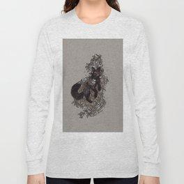 Black Fox and Star Flower Jasmine Tangle Long Sleeve T-shirt