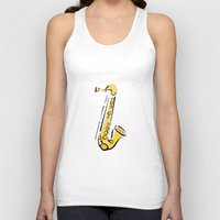 saxophone Tank Tops featuring Saxophone Sax by shopaholic chick