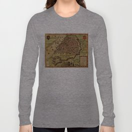 Vintage Map of Antwerp Belgium (1572) Long Sleeve T-shirt