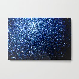 Beautiful Dark Blue glitter sparkles Metal Print