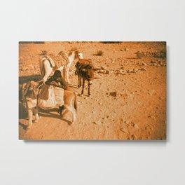 Caravan in Jordan Desert Metal Print