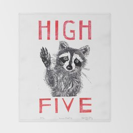 Raccoon High Five  Throw Blanket