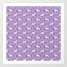German Shorthair Pointer dog breed floral silhouette purple and white dogs pattern gifts Art Print