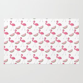 Flamingos and Watermelons Rug