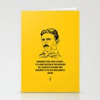 tesla Stationery Cards featuring Tesla Quote  by Purshue