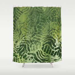 Abstract green painting Shower Curtain