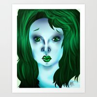Blue-Green Woman Art Print
