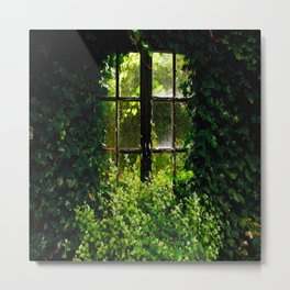 Green idyllic overgrown cottage garden window Metal Print