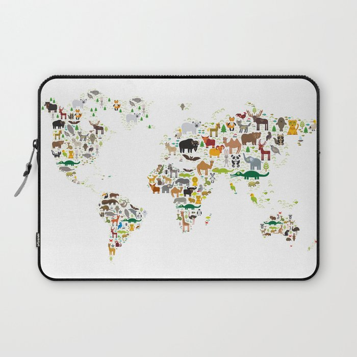 Cartoon animal world map for children and kids, Animals from all over the world on white background Laptop Sleeve