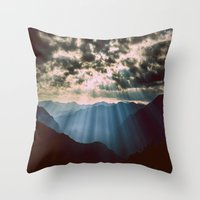 mountains Throw Pillows featuring mountainS Dark Sunset by 2sweet4words Designs