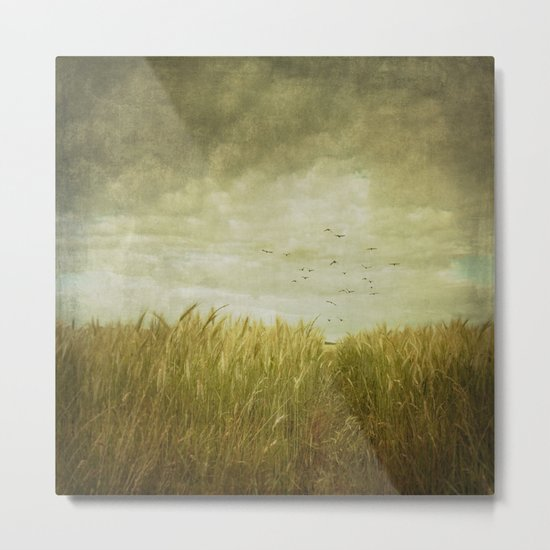 Vintage Wheat Field Metal Print