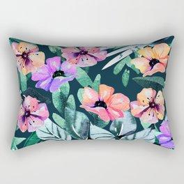 Tropical violet pink mauve green watercolor floral Rectangular Pillow
