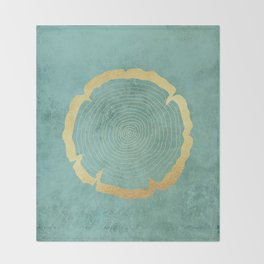 Gold Foil Tree Ring Throw Blanket