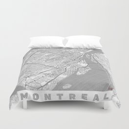 Montreal Map Line Duvet Cover