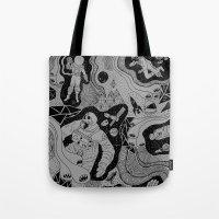 jenna kutcher Tote Bags featuring Cosmic Atomic  by Josh Ln