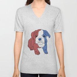 English Bulldog Puppy (red/white/blue) Unisex V-Neck