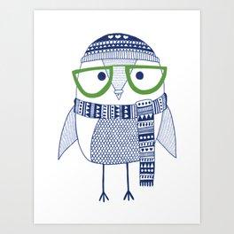 Hipster owl - green glasses Art Print