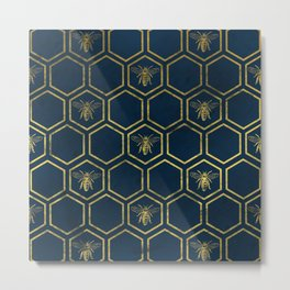 Honey Bee in Navy and Gold Metal Print