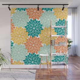 Petals in Orange, Mint, Apricot and Jade Wall Mural
