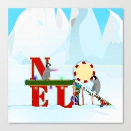 Penquin Chicks: Noel Preparation Canvas Print