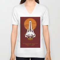 battlestar galactica V-neck T-shirts featuring Battlestar Galactica Viper MK II by jake