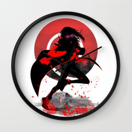 small Mountains red Grass Wall Clock
