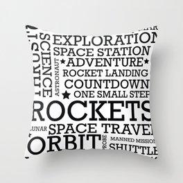 Space Text inspirational poster. Throw Pillow