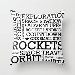 Space Text inspirational poster. Throw Pillow